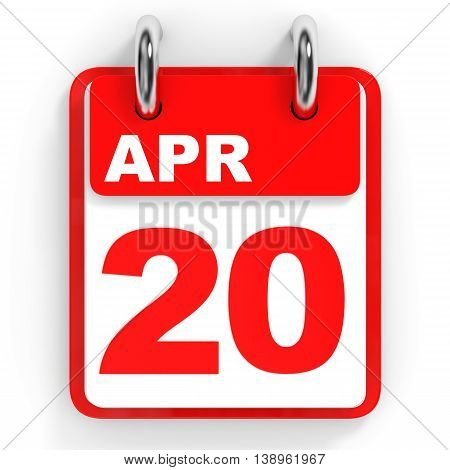 Calendar On White Background. 20 April.