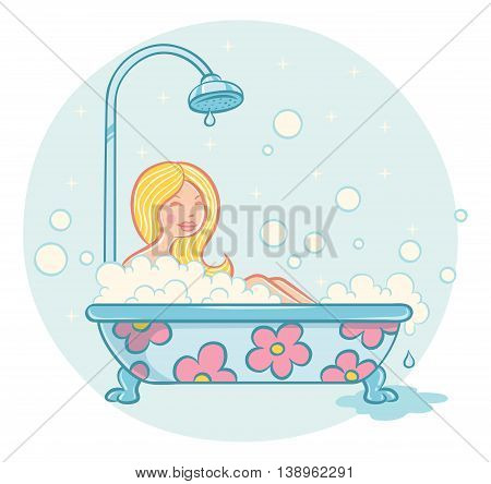 Vector illustration of a girl in bathroom