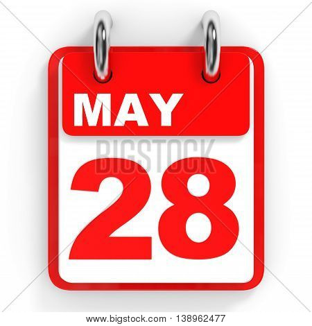 Calendar On White Background. 28 May.