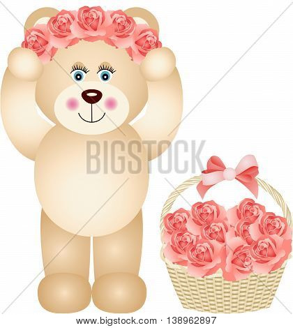 Scalable vectorial image representing a teddy bear girl placing wreath roses on head, isolated on white.