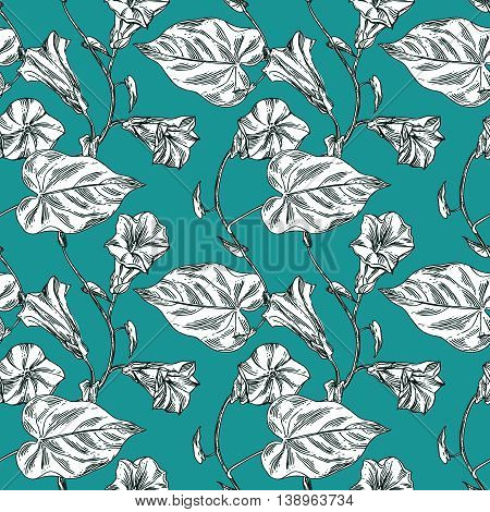 Beautiful hand drawn vector illustration sketching of wildflowers on green. Boho style floral seamless pattern.