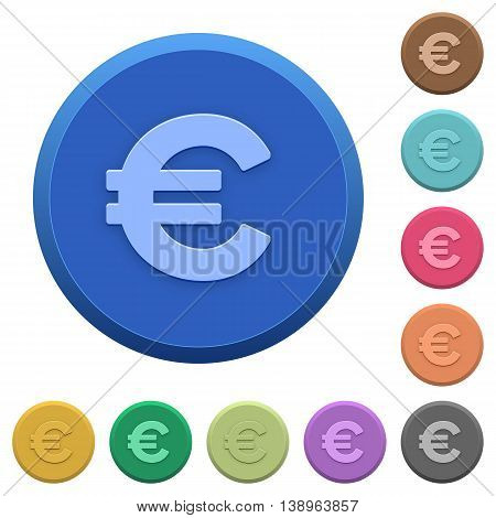 Set of round color embossed euro sign buttons