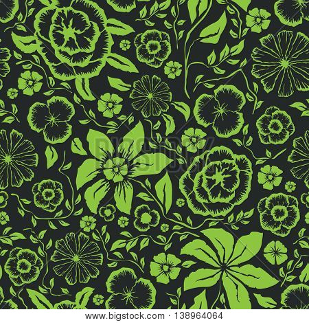 Vector with hand made seamless flower pattern