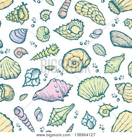 Vector with hand made seamless summer shell pattern