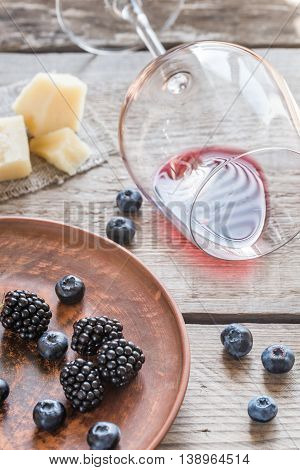 Bowl Of Blackberries On The Wooden Table