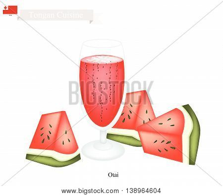 Tongan Cuisine Watermelon Otai or Traditional Drink Made From Watermelon and Coconut Cream. One of The Most Famous Drink in Tonga.