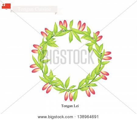Tonga Flower Illustration of Tongan Lei or Tonga Garland Made From Heilala Flowers for Wedding Birthday and Graduation Celebrations.