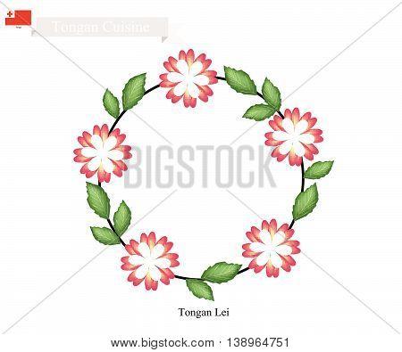 Tonga Flower Illustration of Tongan Lei or Tonga Garland Made From Heilala or Garcinia Sessili Flowers for Wedding Birthday and Graduation Celebrations.
