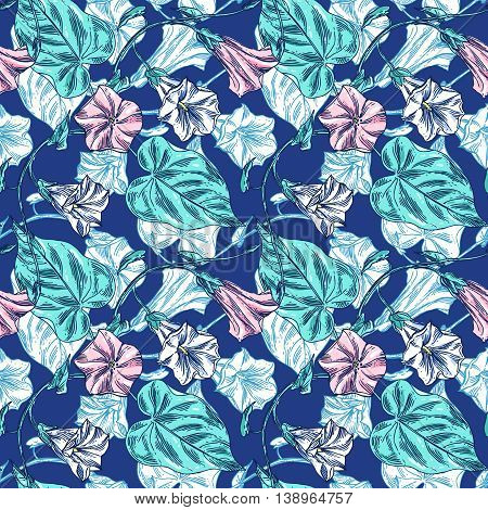 Beautiful hand drawn vector illustration sketching of blue wildflowers. Boho style floral seamless pattern.