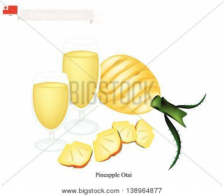 Tongan Cuisine Pineapple Otai or Traditional Drink Made From Ripe Pineapple and Coconut Milk. One of The Most Famous Drink in Tonga.