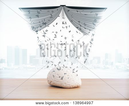Education concept with information pouring out of book into brain on foggy city background. 3D Rendering