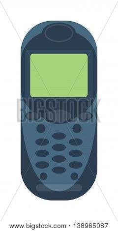 Old vintage keypad mobile phone and icon of old classic mobile phone antique vector. Old style mobile phone technology retro cellphone vector illustration