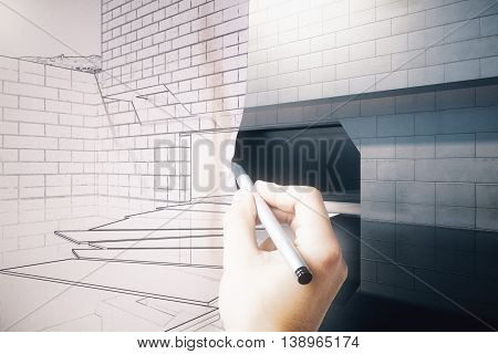 Hand turning exterior blueprint on paper into real building. 3D Rendering