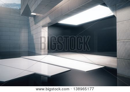 Exterior design with concrete tile walls glossy black floor and abstract white path to entrance. Side view 3D Rendering