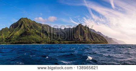 Panoramic View Of Na Pali Coast From The Ocean, Kauai