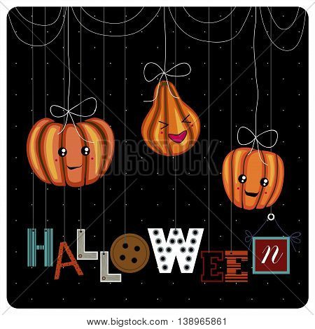 Happy Halloween cover design.Smiling and laughing pumpkins and the word halloween on the black background.