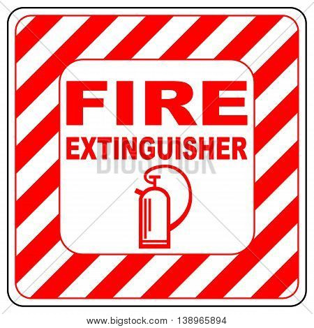 Fire extinguisher symbol text banner vector illustration striped in white and red