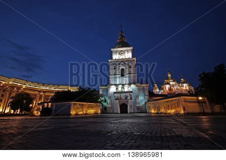 Evening down the golden domes of St. Michael's Cathedral. Kiev Ukraine