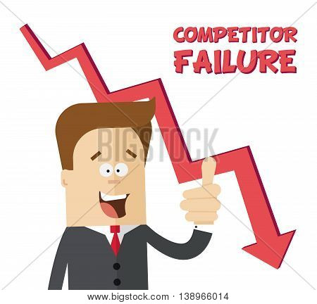 Happy businessman or manager rejoices failure competitors. Flat isolated illustration