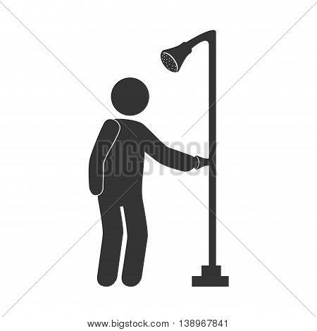 Man taking a shower in the bathroom pictogram design, vector illustration.