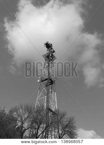 Sky radio tower Stakhanov in Donbass region