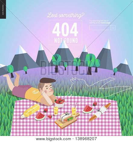 404 error template of young couple on picnic - flat cartoon vector illustration of a man laying near the outline of disappeared woman on checkered plaid in landscape with mountains, trees and blue sky