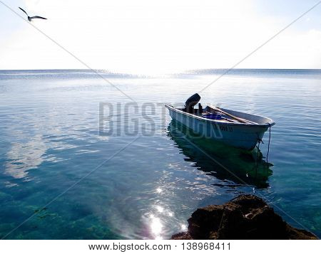 Fishing boat lying peaceful and quiet on the smooth clear Caribbean ocean water as the sun is setting and Seagulls fly overhead with rocks in the foreground