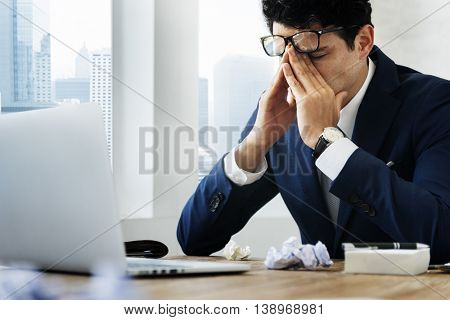 Stressed Gesture Businessman Workplace Concept