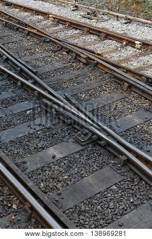 Top view of the train tracks in England