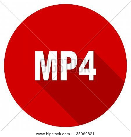 mp4 vector icon, red modern flat design web element