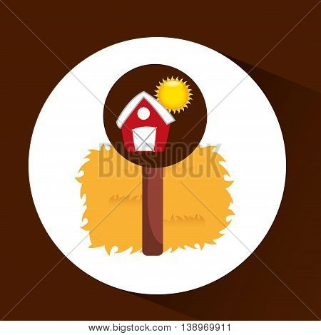 farrm countryside thatch isolated, vector illustration eps10