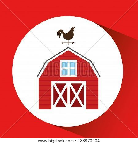 farm countryside house home farmhouse isolated, vector illustration