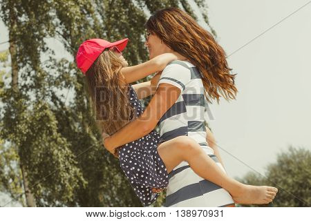 Mommy And Daughter Spending Lovely Time Together.