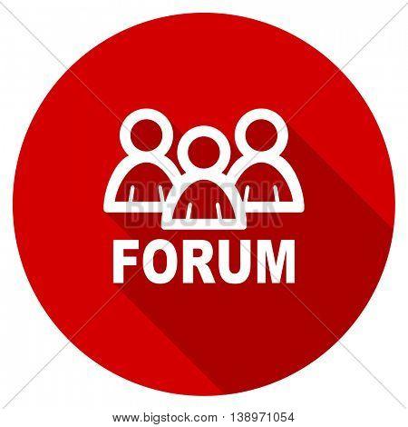 forum vector icon, red modern flat design web element