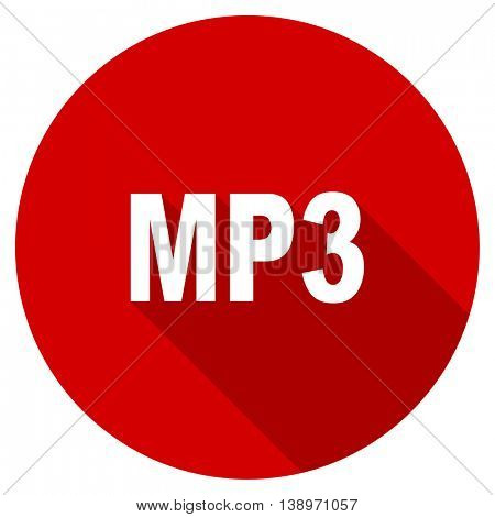 mp3 vector icon, red modern flat design web element