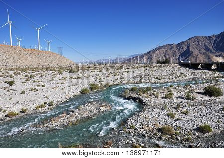 Water rushes through Whitewater Canyon Preserve near the desert town of Palm Springs, California.