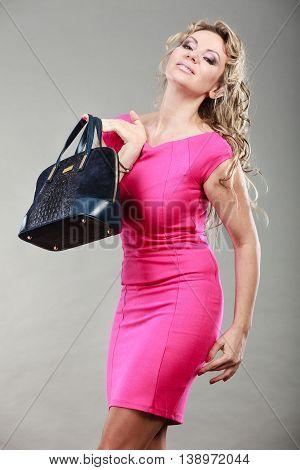 Elegant Woman Buyer With Black Bag.