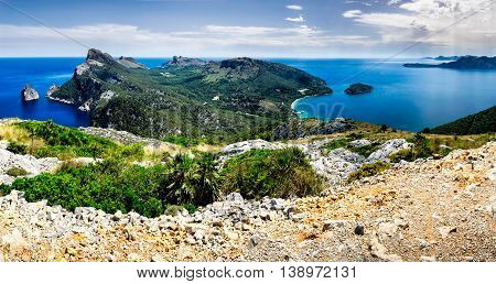 Mallorca, Balearic Islands, Spain: a panoramic view of Cap de Formentor seen from the Talaia d'Albercutx. The Talaia d'Albercutx is an 18th century tower above Cap Formentor