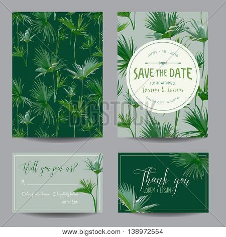 Save the Date Card. Tropical Palms Leaves. Wedding Invitation Card. RSVP. Vector