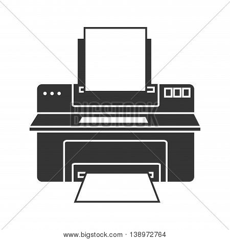 printer computer device , isolated flat icon vector illustration