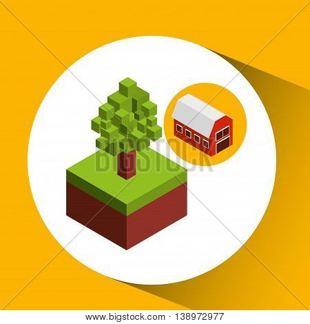 farm countryside isometric isolated, vector illustration eps10