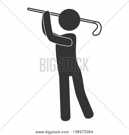 Golf sport player pictogram isolated flat icon, vector illustration.