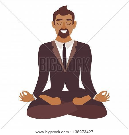 Businessman meditating.Concept of calm businessAfrican-american man work at office.Businessman in yoga poselotus position. Business relax. Cartoon style vector illustration isolatedwhite background