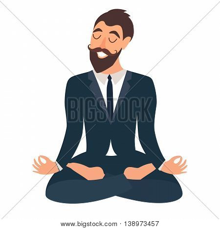 Businessman meditating. Concept of calm business work at office. Happy worker. Businessman in yoga pose lotus position. Business relax. Cartoon style vector illustration isolated on white background