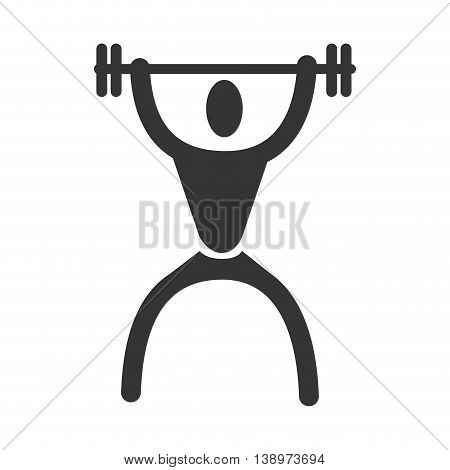 Man trainning weights sport pictogram isolated flat icon, vector illustration.