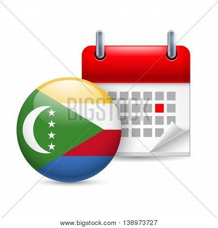 Calendar and round Comoran flag icon. National holiday in Comoros
