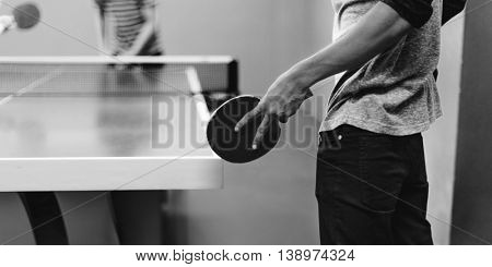 Two Friends Playing Tabletennis Concept