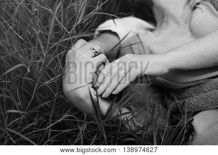 Adult Couple Dating Hugging Grass Concept