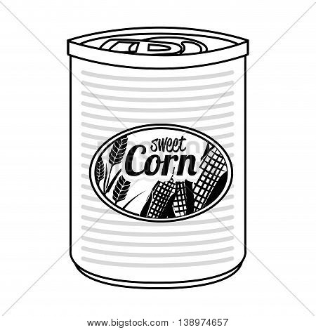 Delicious sweet corn canned isolated flat icon, vector illustration.