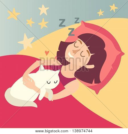 Sleeping happy girl with cat. Cartoon character woman on pillow in bed. Sweet dreams. Vector illustration
